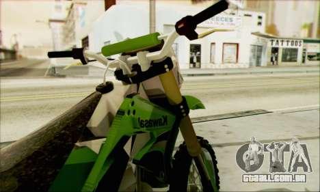 Kawasaki KLX 150 SE para GTA San Andreas traseira esquerda vista