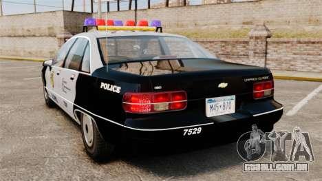 Chevrolet Caprice Police 1991 v2.0 LCPD para GTA 4 traseira esquerda vista