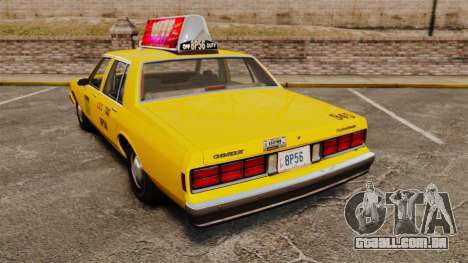 Chevrolet Caprice 1987 L.C.C. Taxi para GTA 4 traseira esquerda vista