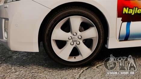 Toyota Prius 2011 Warsaw Taxi v4 para GTA 4 vista de volta