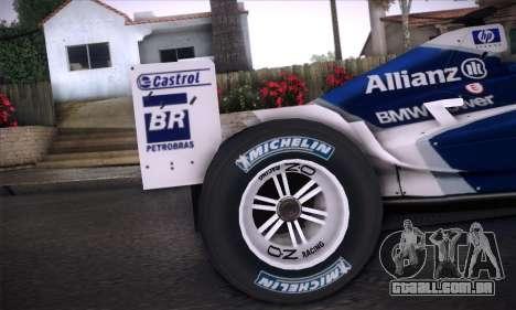 BMW Williams F1 para GTA San Andreas vista interior