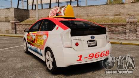 Toyota Prius 2011 Warsaw Taxi v4 para GTA 4 traseira esquerda vista