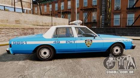 Chevrolet Caprice 1987 NYPD para GTA 4 esquerda vista