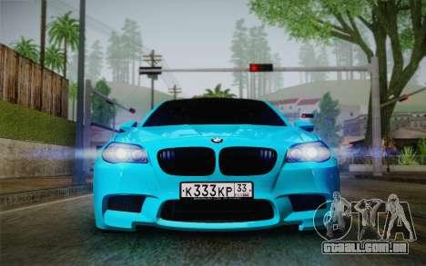 BMW M5 F10 v1 para GTA San Andreas traseira esquerda vista