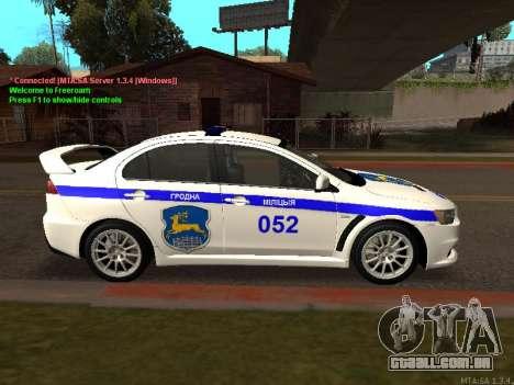 Mitsubishi Lancer X polícia para GTA San Andreas vista traseira