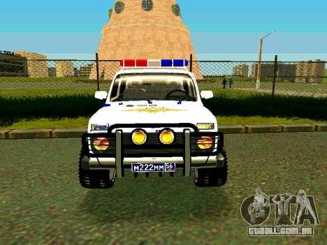 VAZ 212140 polícia para GTA San Andreas vista traseira
