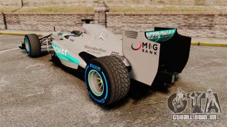 Mercedes AMG F1 W04 v2 para GTA 4 traseira esquerda vista