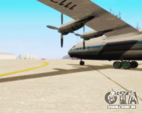 A Aeroflot an-12 para GTA San Andreas traseira esquerda vista