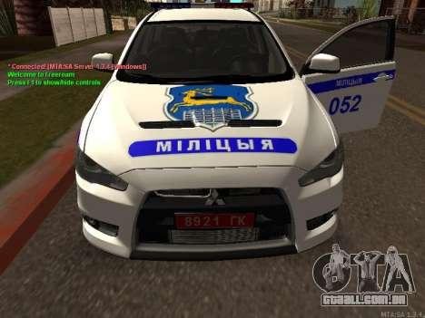 Mitsubishi Lancer X polícia para GTA San Andreas vista interior