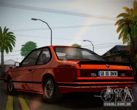 BMW E24 M635 1984 para GTA San Andreas vista interior