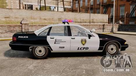 Chevrolet Caprice Police 1991 v2.0 LCPD para GTA 4 esquerda vista