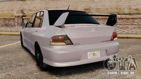 Mitsubitsi Lancer MR Evolution VIII 2004 Stock para GTA 4 traseira esquerda vista