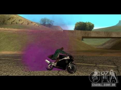A nova cor de fumo debaixo das rodas para GTA San Andreas terceira tela