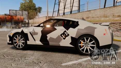 Nissan GT-R Black Edition 2012 Ski Slope Camo para GTA 4 esquerda vista