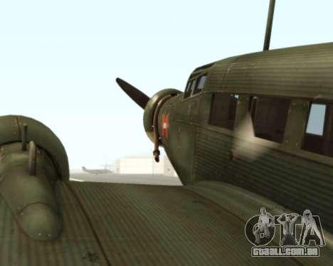 Junkers Ju-52 para GTA San Andreas vista traseira
