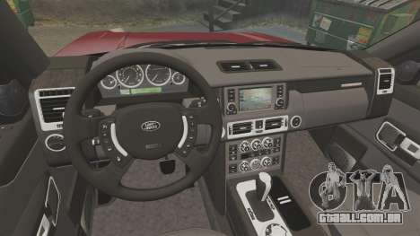 Range Rover Supercharged para GTA 4 vista interior