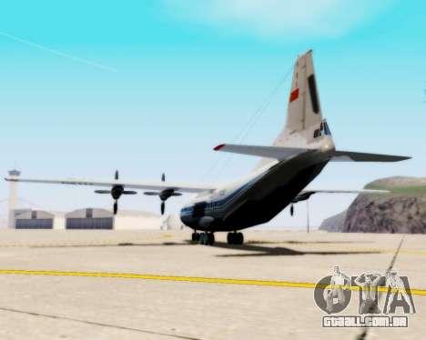A Aeroflot an-12 para GTA San Andreas esquerda vista