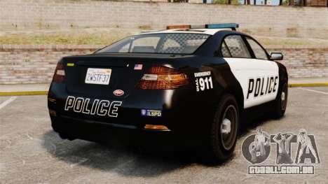 GTA V Vapid Police Interceptor para GTA 4 traseira esquerda vista