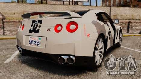 Nissan GT-R Black Edition 2012 Ski Slope Camo para GTA 4 traseira esquerda vista