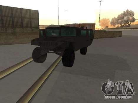 Hummer H1 do jogo Resident Evil 5 para GTA San Andreas vista interior