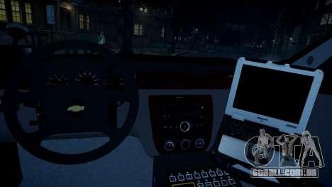Chevy Impala Unmarked 2010 para GTA 4 vista de volta