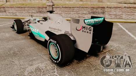 Mercedes AMG F1 W04 v5 para GTA 4 traseira esquerda vista