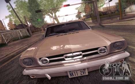Ford Mustang GT 289 Hardtop Coupe 1965 para GTA San Andreas vista interior