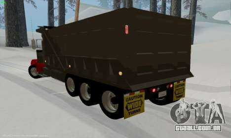 Peterbilt 379 Dump Truck para GTA San Andreas traseira esquerda vista