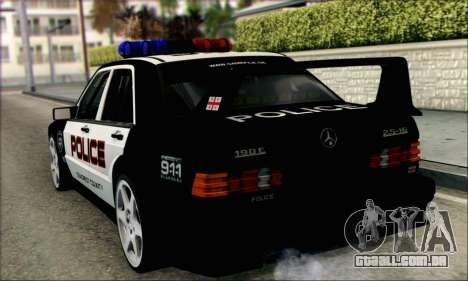 Mercedes-Benz 190E Evolution Police para GTA San Andreas traseira esquerda vista