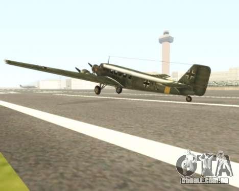 Junkers Ju-52 para GTA San Andreas traseira esquerda vista