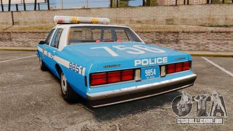 Chevrolet Caprice 1987 NYPD para GTA 4 traseira esquerda vista