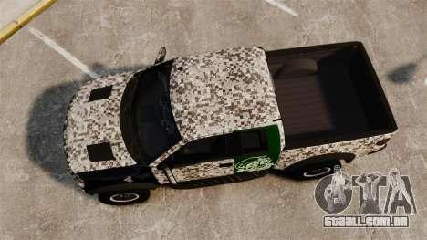 Ford F-150 SVT Raptor 2011 ArmyRat para GTA 4 vista direita