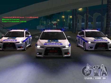 Mitsubishi Lancer X polícia para GTA San Andreas esquerda vista