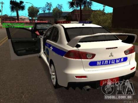 Mitsubishi Lancer X polícia para GTA San Andreas vista direita