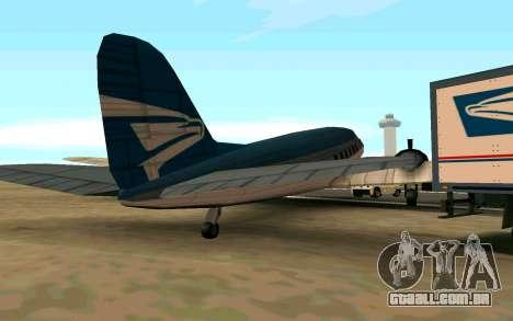 Um avião dos Estados Unidos para GTA San Andreas traseira esquerda vista