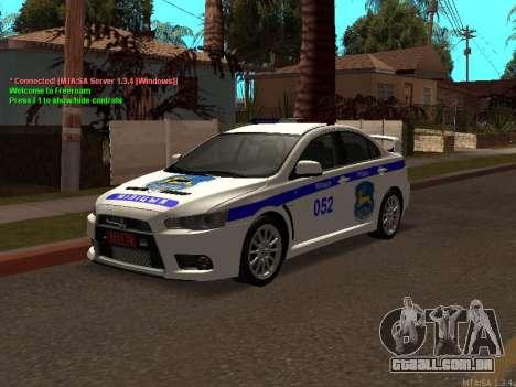 Mitsubishi Lancer X polícia para GTA San Andreas