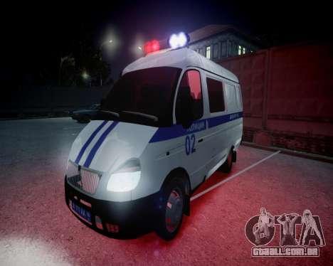 Polícia de gazela 2705 para GTA 4 vista superior