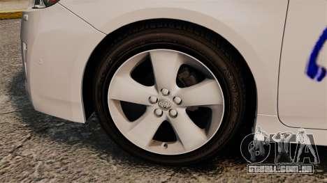 Toyota Prius 2011 Warsaw Taxi v3 para GTA 4 vista de volta