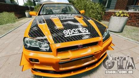 Nissan Skyline R34 GT-R NFS Underground para GTA 4 vista direita