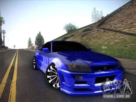 Nissan Skyline GTR para GTA San Andreas vista traseira