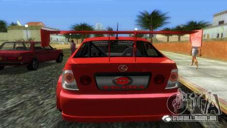 Lexus IS200 para GTA Vice City vista traseira esquerda