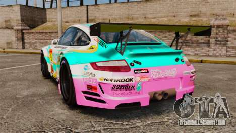 Porsche GT3 RSR 2008 Hatsune Miku para GTA 4 traseira esquerda vista