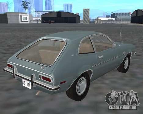 Ford Pinto 1973 para GTA San Andreas vista traseira