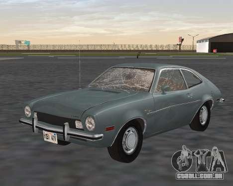 Ford Pinto 1973 para GTA San Andreas vista inferior