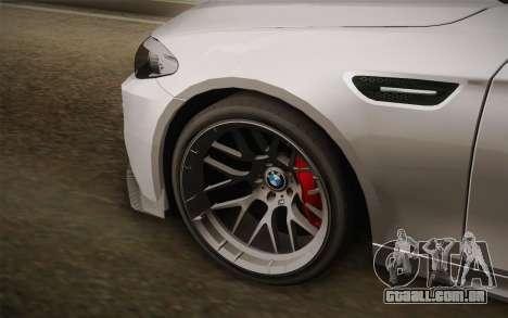 BMW M5 2012 para GTA San Andreas traseira esquerda vista