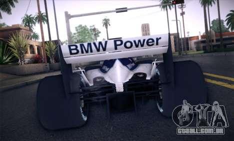 BMW Williams F1 para vista lateral GTA San Andreas