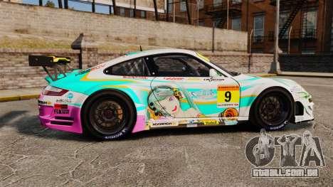Porsche GT3 RSR 2008 Hatsune Miku para GTA 4 esquerda vista