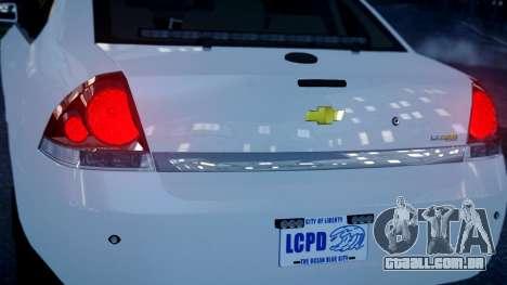 Chevy Impala Unmarked 2010 para GTA 4 traseira esquerda vista