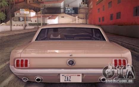 Ford Mustang GT 289 Hardtop Coupe 1965 para GTA San Andreas vista inferior