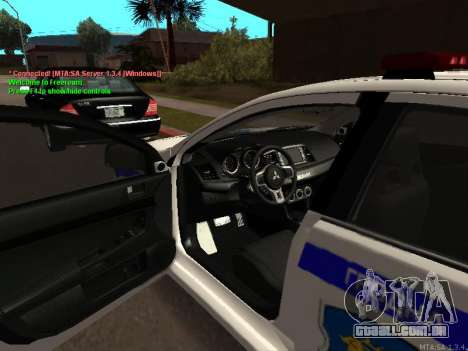 Mitsubishi Lancer X polícia para GTA San Andreas traseira esquerda vista